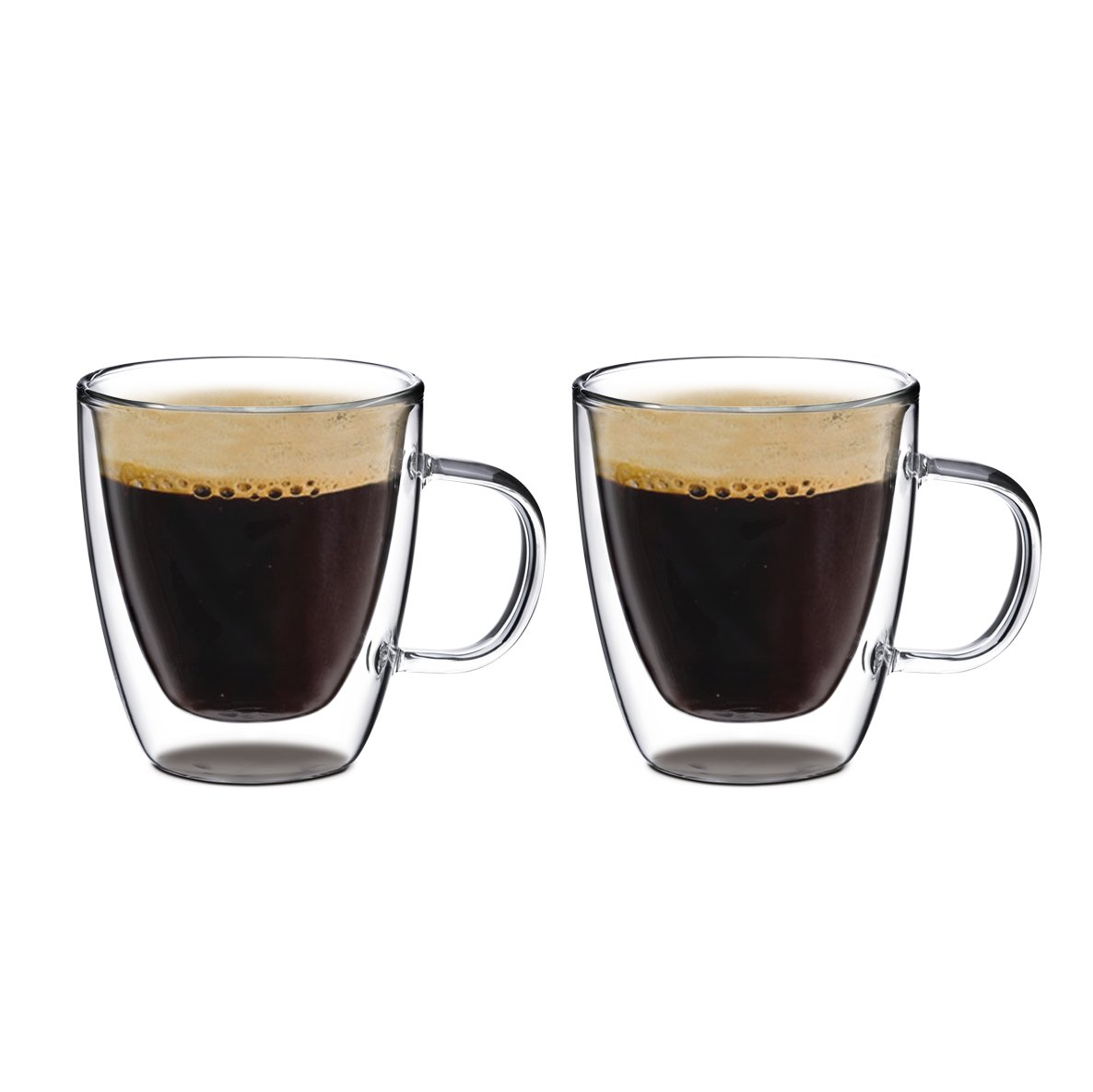Double Wall Glass with Handle, for Tea, Coffee, Wine, Beer, and More, By Bruntmor (8 oz, Set of 2)