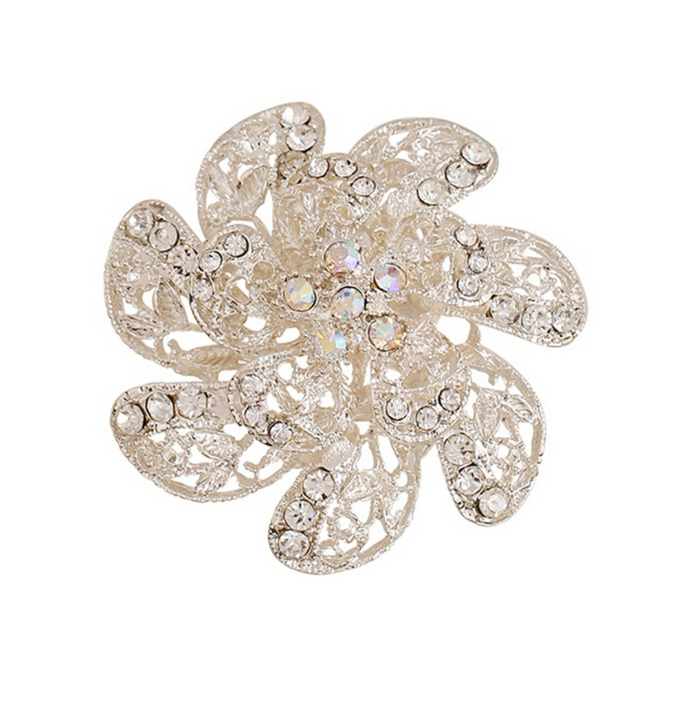Hosaire Women's Fashion Jewelry Girl's Hollow Flowers Brooch Pin With Rhinestones