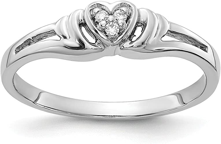 Diamond Heart Ring Mounting Size 6 Length Width 2 14k White Gold .02ct