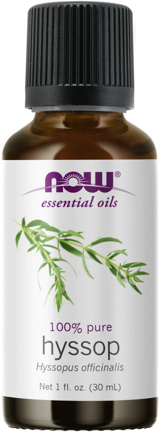 NOW Essential Oils, Hyssop Oil, Purifying Aromatherapy Scent, Steam Distilled, 100% Pure, Vegan, Child Resistant Cap, 1-Ounce