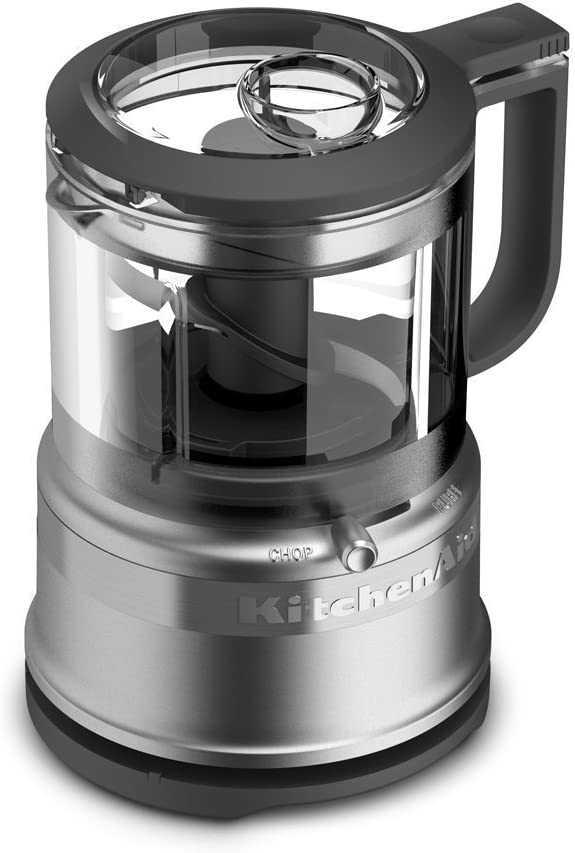 KitchenAid KFC3516CS 3.5 Cup Mini Food Processor, Cocoa Silver (Renewed)