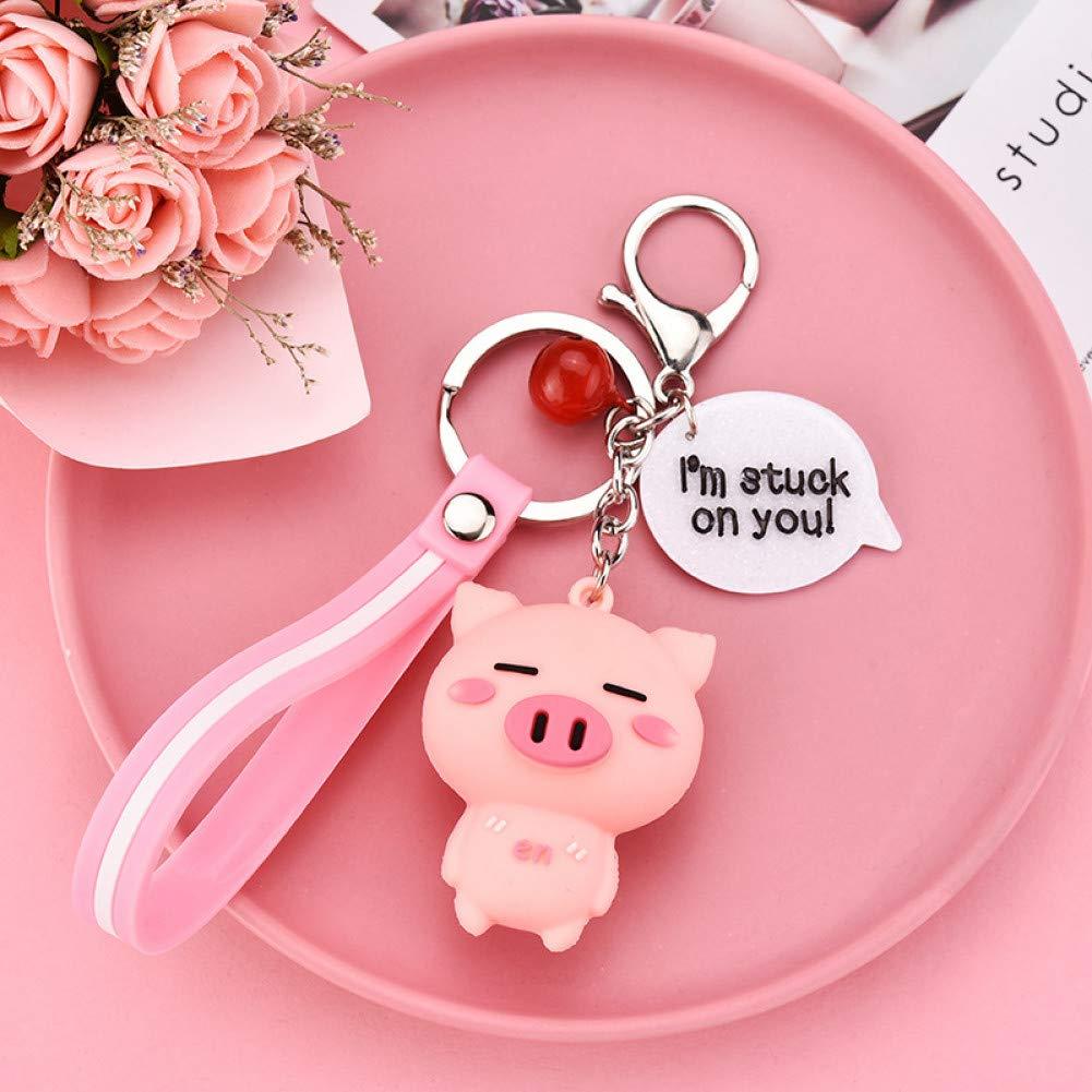 ZSHWAN Cute Cartoon Pig Llavero Cuerda De Cuero Llaveros ...