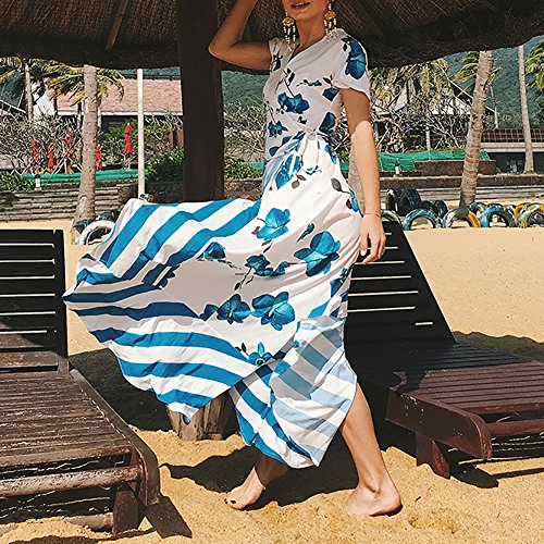 iBaste Damen Sommer böhmischen Print Kleid VAusschnitt Split ...