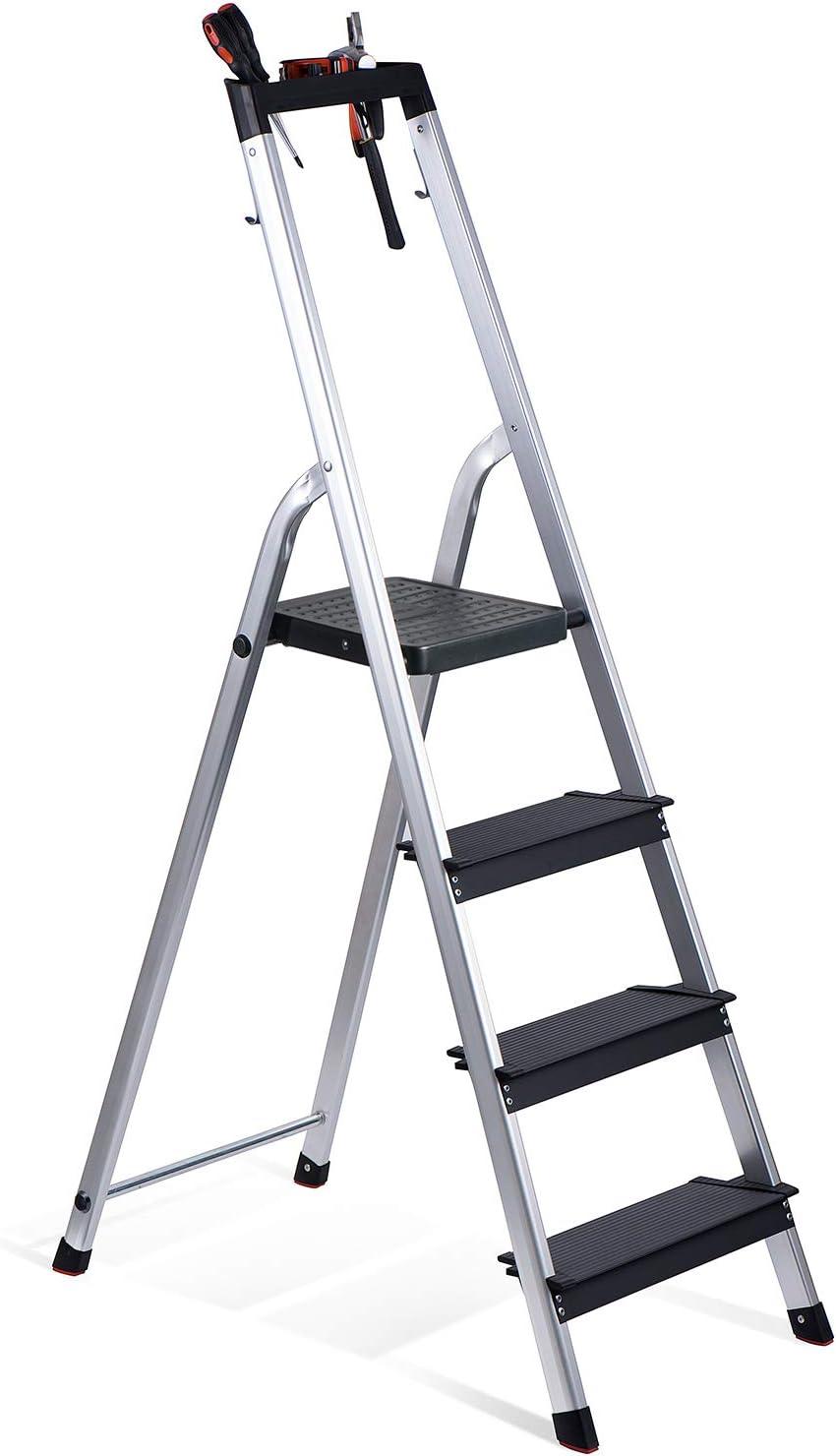 Delxo Escalera plegable, de aluminio, peso ligero, para cocina de hogar, pedal ancho, resistente y antideslizante, capacidad hasta 150 kg, ahorro de espacio: Amazon.es: Bricolaje y herramientas