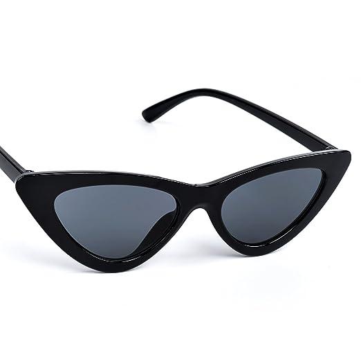 5107155f89 Cat Eye Sunglasses Women Vintage Retro Clout Goggles Cateye Sun Glasses ( Black)