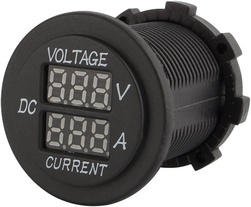 Voltímetro digital LED, DC 12-24V Voltímetro digital dual LED Amperímetro Amperímetro Voltímetro Guage Coche Moto