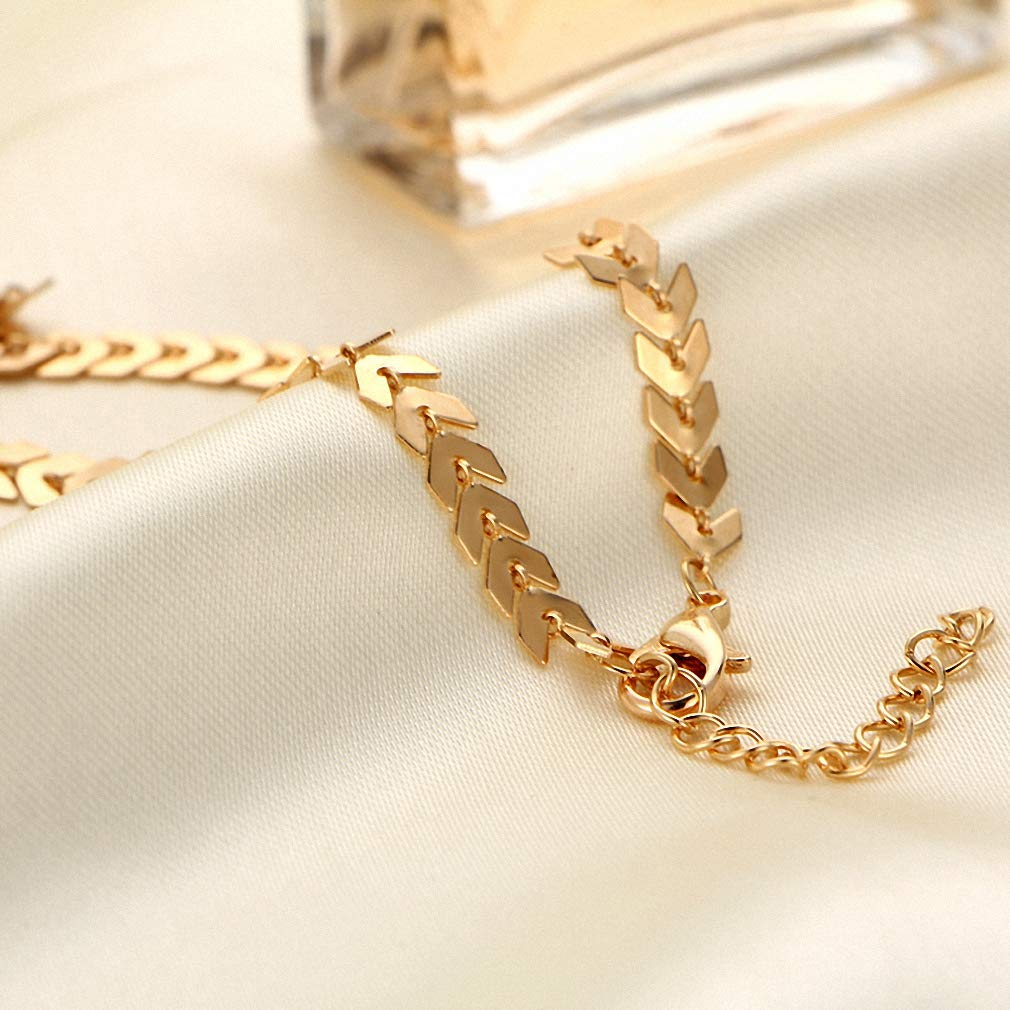 Womens Pendant Necklace New Chain Choker Two Layers Necklaces Fishbone Airplane Shape Gold Color Necklace Flat Chain Jewelry