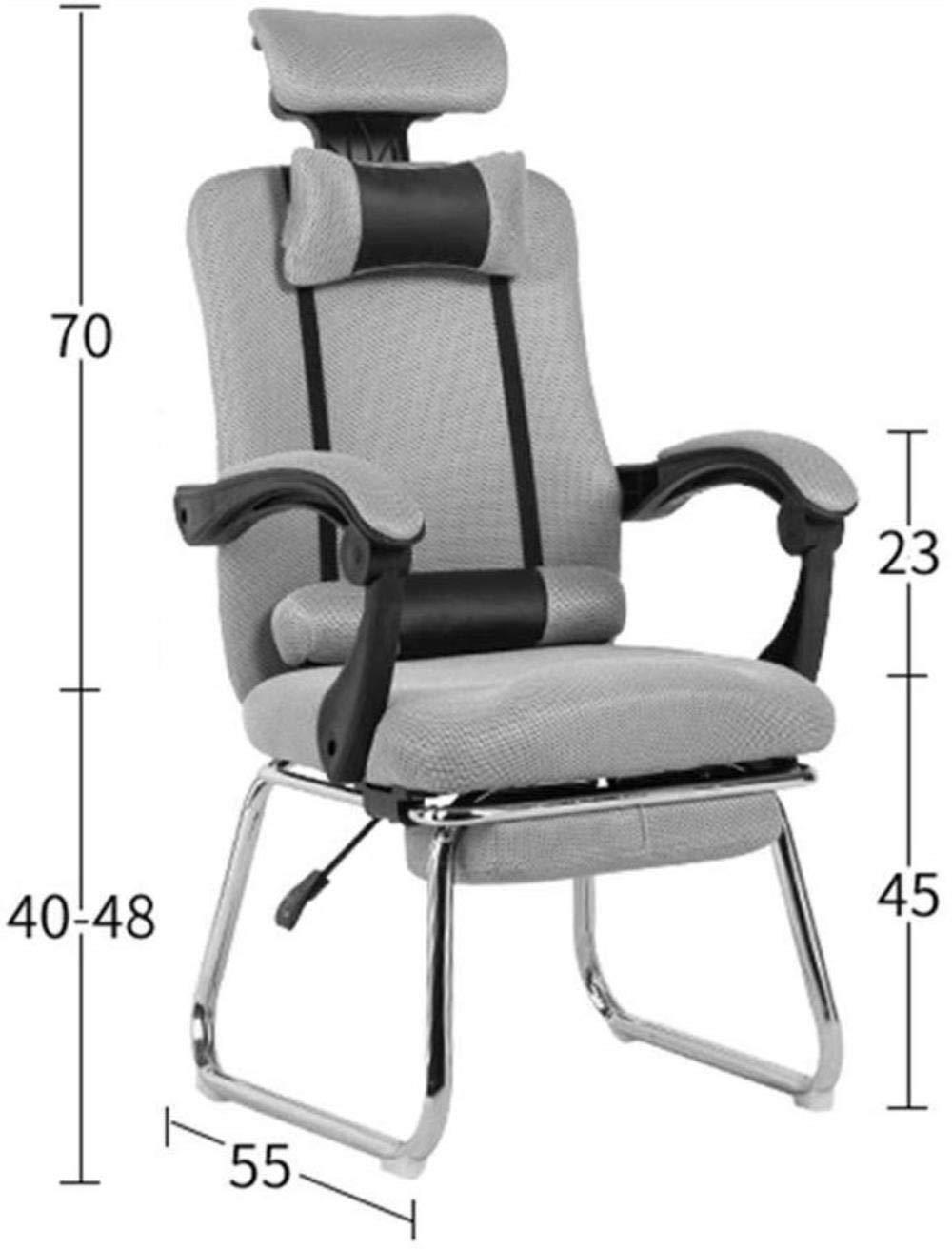 Barstolar Xiuyun ribbad kontorskontorskontorskontorsstol mellanrygg PU-läder verkställande konferensuppgift stol justerbar (färg: B) a