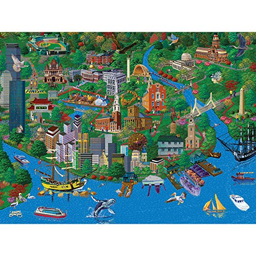 Bits and Pieces - 1000 Piece Jigsaw Puzzle for Adults - Boston City View - 1000 pc Charles River Jigsaw by Artist Joseph - Puzzle Boston