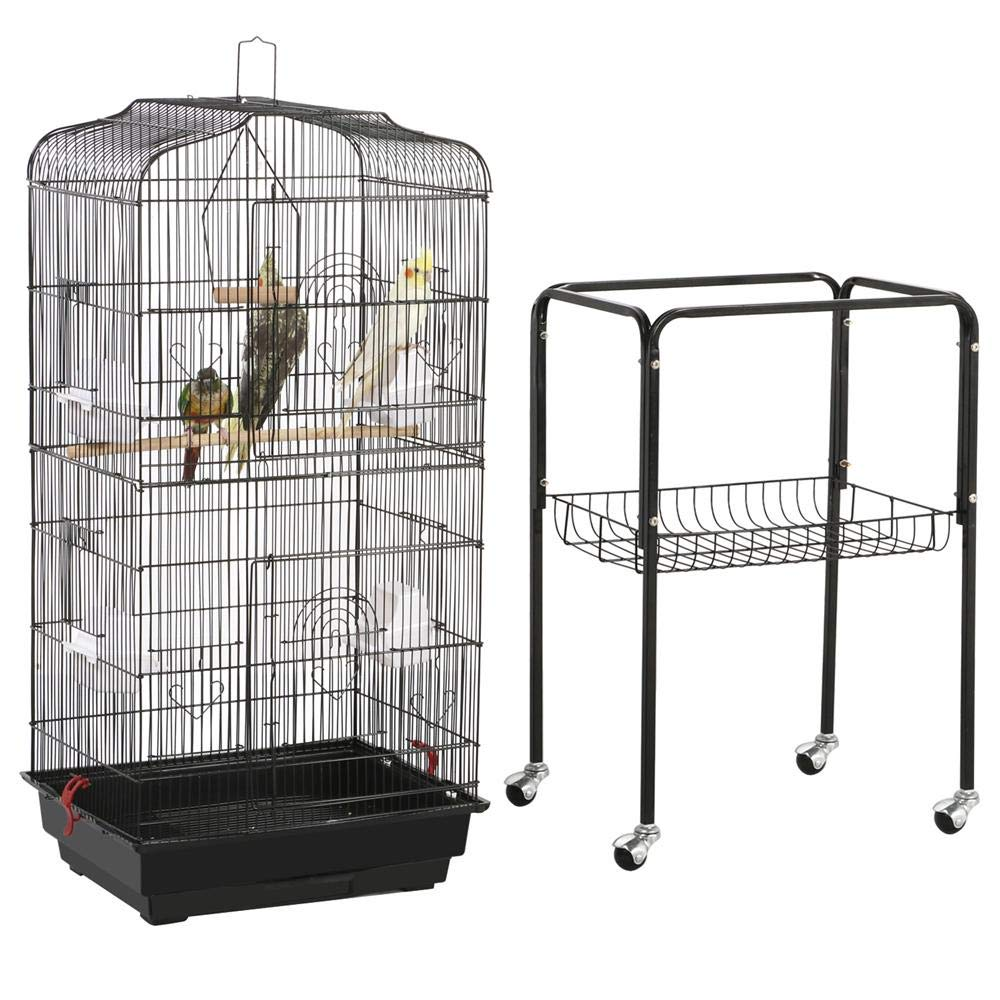 Yaheetech 59.3-inch Rolling Bird Cage for Small Parrots Cockatiels Sun Parakeets Conure Finches Canary Budgies Lovebirds Medium Size Travel Bird Cage with Removable Stand by Yaheetech