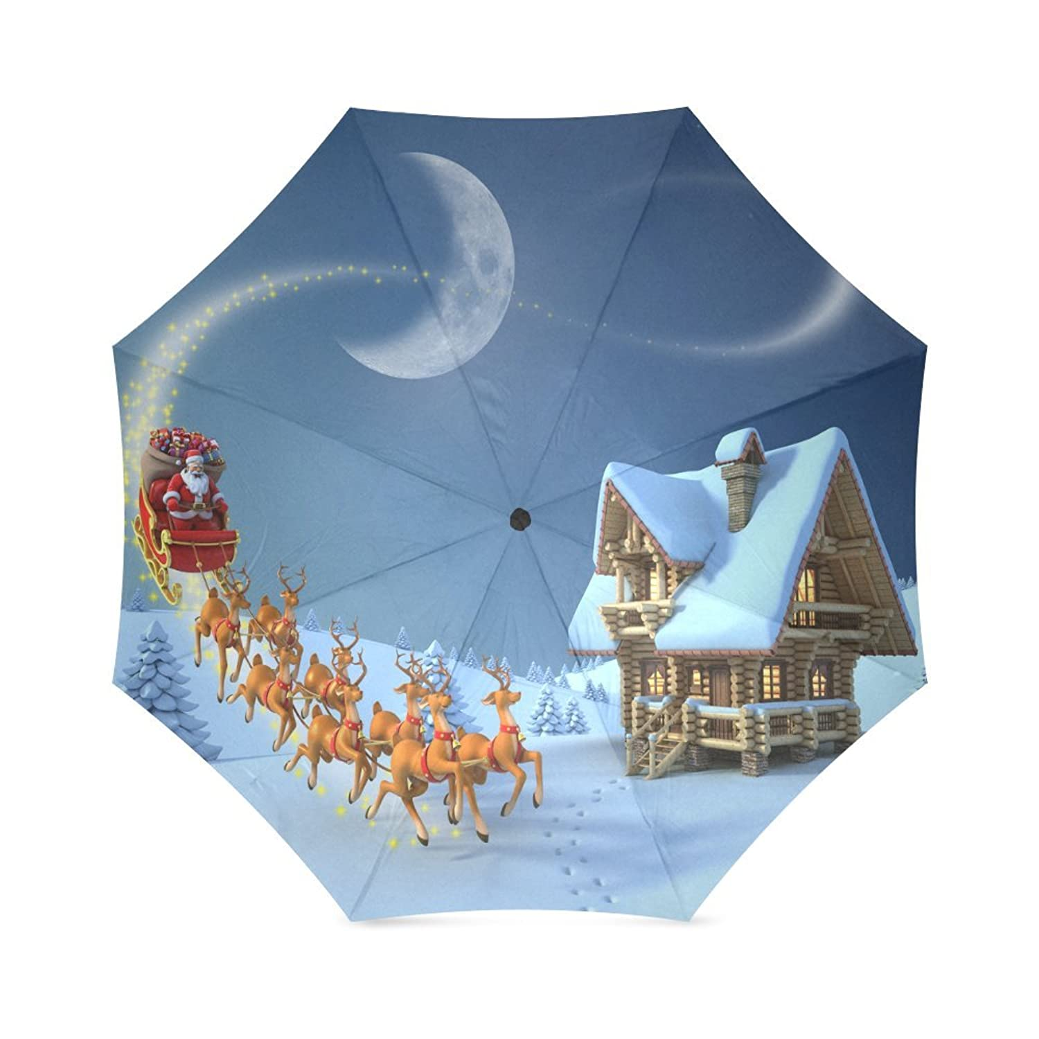 Amazon.com: Santa Claus and Reindeers Flying in the sky, Father Christmas Best Christmas Gift Folding Rain Umbrella/Parasol/Sun Umbrella: Clothing