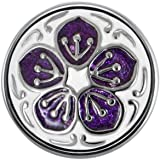 Quiges Damen Mini Click Button 12mm Violet Blume mit Stern Kern