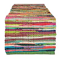 """DII 100% algodón, corredor de mesa de trapo Chindi lavable a máquina todos los días, 14 x 72 """", color múltiple"""