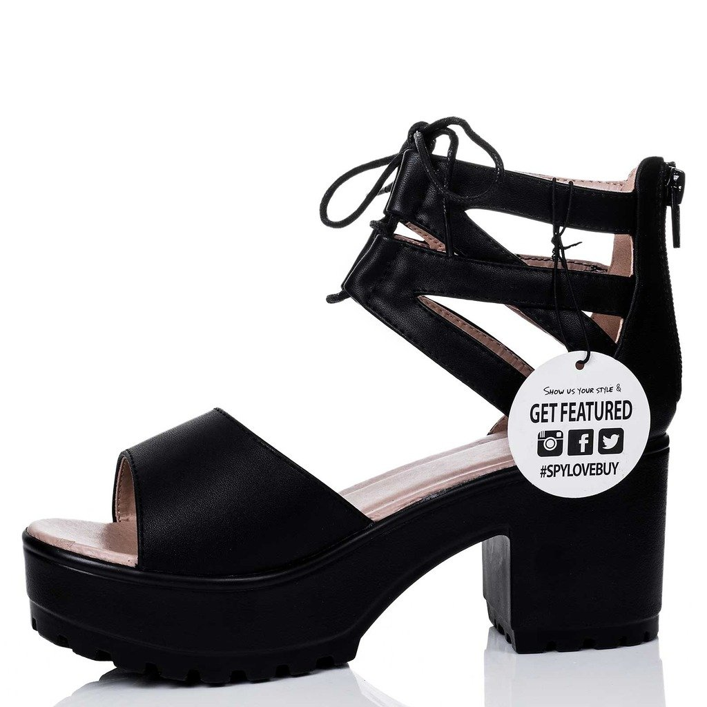 9df69dba9d4 Spylovebuy Rave Women s Lace Up Cleated Sole Block Heel Sandals Shoes   Amazon.co.uk  Shoes   Bags