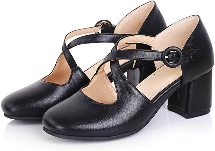 sorliva Womens T-Strap Mary Jane Pumps,Round-Toe Low Chunky Block Heels with Retro Ankle Strap Style Sandal Shoes for Dress Office