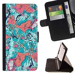 For Samsung Galaxy Note 5 5th N9200 Case , Trullo floral abstracta púrpura Pintura- la tarjeta de Crédito Slots PU Funda de cuero Monedero caso cubierta de piel