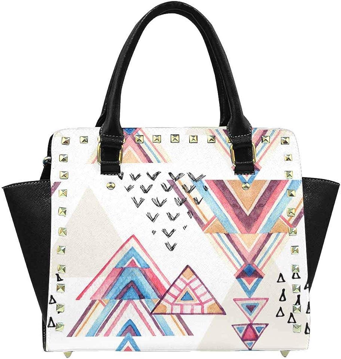 INTERESTPRINT Watercolor Geometric Purses and Handbags Shoulder Bag for Women Ladies Girls