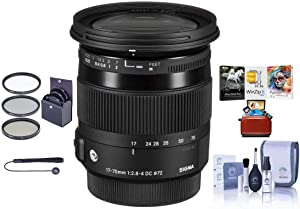Sigma 17-70mm f/2.8-4 DC Macro OS HSM Lens for Canon EOS Cameras - Bundle with 72mm Filter Kit (UV/CPL/ND), Cap Leash, Cleaning Kit, MAC SoftwarePackage