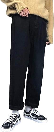 [Bestmood]ロングパンツ メンズ デニムパンツ ゆったり ワイドパンツ デニム シンプル ジーンズ ストレート カジュアル ジーパン 黒 ストリート系 秋 冬