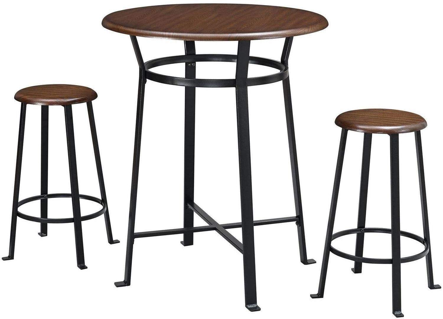 Pub Table Set 3 Piece Metal Frames Round Wooded Tops Stools Dark Mahogany Ideal Dining Room