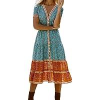 riou Vestido de Mujer con Estampado Bohemio Playa y Fiesta Vestidos Manga Corta Elegantes Vintage Verano Tallas Grandes…