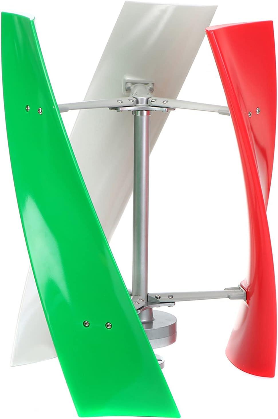 Boyuan Kit de generador de turbina de Viento, 12V / 24V / 48 Kit de generador de turbina de energía eólica de hélice Vertical portátil de 3 aspas, con Controlador de Carga