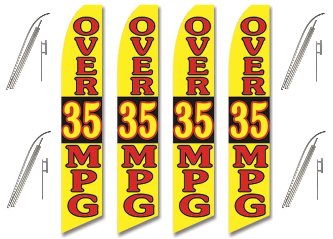 Four 4 Pack Swooper Flags /& Pole Kits Alternating Red /& Yellow OVER 35 MPG