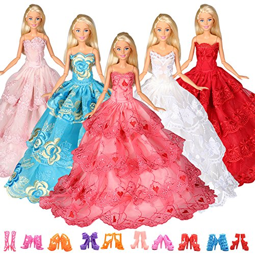 Tanosy Lot 13 Items =3 PCS Doll Dress with 360° Lace Sewing Barbie Clothes Outfit Sumptuous Wedding Party Gowns Dresses with 10 Pair Shoes for Barbie Doll Children's Day Gift(Style A) by Tanosy