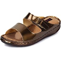 TRASE Dr - Soft II Golden/Copper/Black Ortho Slippers for Women (with Comfortable Doctor Sole)