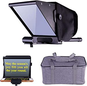Niome Mini Teleprompter, Adjustable Smartphone Teleprompter Beam Splitter for Home Interview Shooting, DSLR Video Teleprompter w/Carry Case