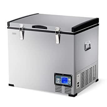 COSTWAY Car Freezer, 63 Quart Compressor Travel Refrigerator -4°F to 50°F,  Portable and Compact Vehicle Electric Cooler Fridge, For Car, Home,