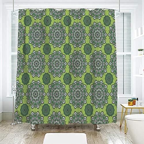 - scocici Bath Curtain Suit Bathroom Waterproof Curtain Bath Curtain,Lime Green,Arabesque Oriental Moroccan Mandala Middle Eastern Boho Retro Pattern Decorative,Fern Green White,70.8