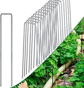 CJGQ 10 Inch Galvanized Landscape Staples 100 Pack Anchoring Pins Garden Stakes