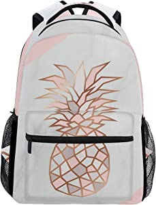 ALAZA Rose Gold Pineapple On Pink And White Marble Stylish Large Backpack Personalized Laptop iPad Tablet Travel School Bag with Multiple Pockets for Men Women College
