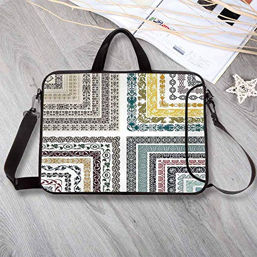 "Light V95 (Antique Lightweight Neoprene Laptop Bag,Royal Eastern Authentic Ornate Swirling Ethnic Ancient Figure Lines Mosaic Design Decorative Laptop Bag for Laptop Tablet PC,15.4""L x 11""W x 0.8""H)"