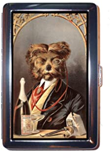 Dog Drinks Champagne Vintage Illustration Stainless Steel ID or Cigarettes Case (King Size or 100mm