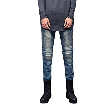 77f9a9c9bef8 Clearance Sale ✿✿ Men Trousers, Xinantime Slim Fit Blue Jeans Stretch  Skinny Pleated Ripped