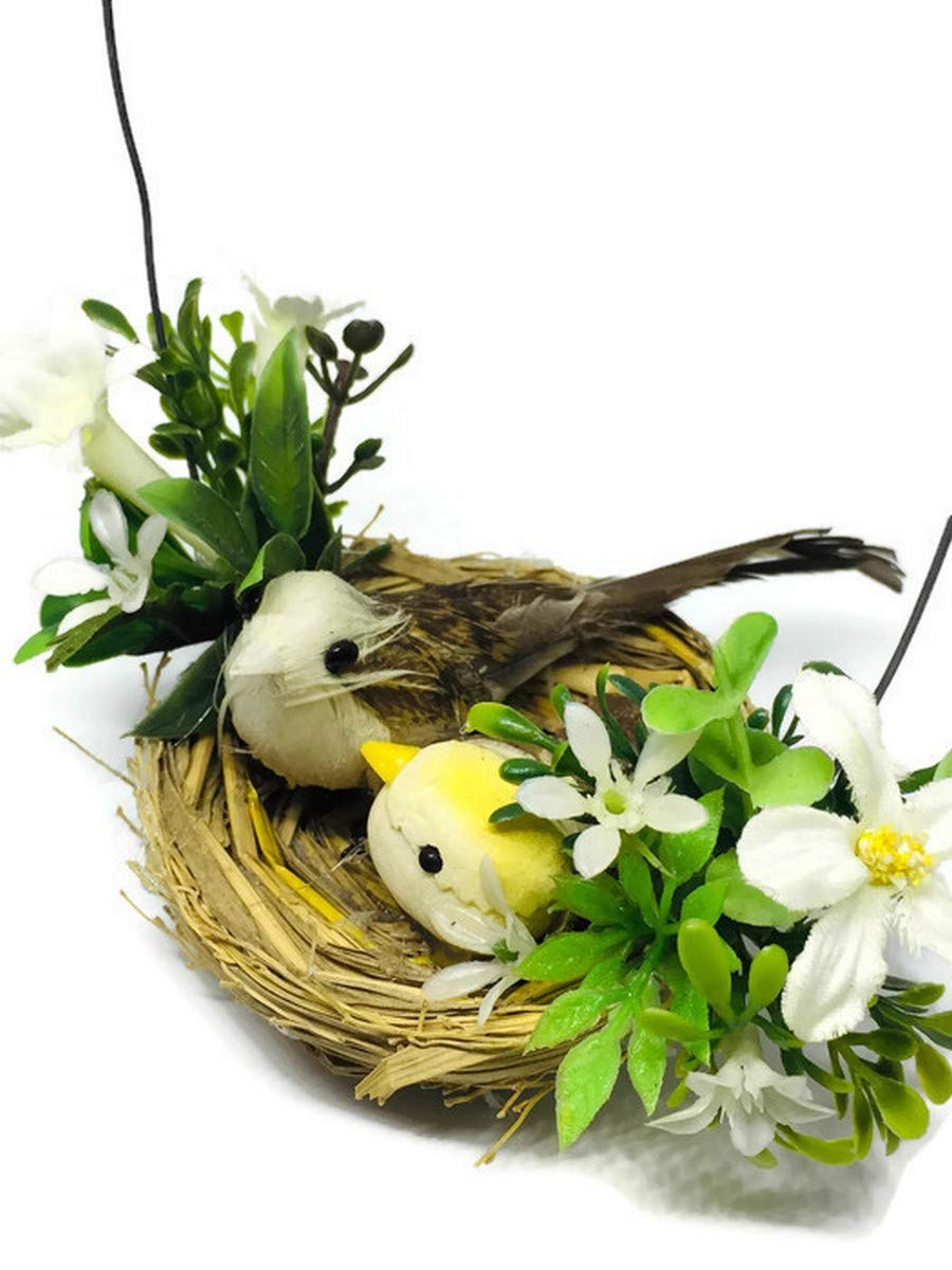 Mini Fake Bird Nest Decorative Artificial Feather Foam Doves Wedding Venue Ornament Nature Home Decor B0008