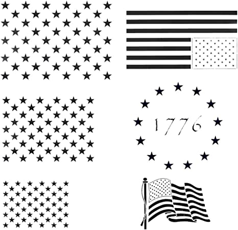 Amazon Com Llgltec American Flag Stencil Stars Flying American Flag Stencil Template For Painting On Wood Paper Fabric Glass And Wall Art Reusable U S Presidential Election Decorations Supplies 6 Pack