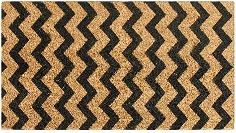 Rubber-Cal 10-102-031 Modern Lattice-Contemporary Coir Doormat, 18 x 30 , Brown