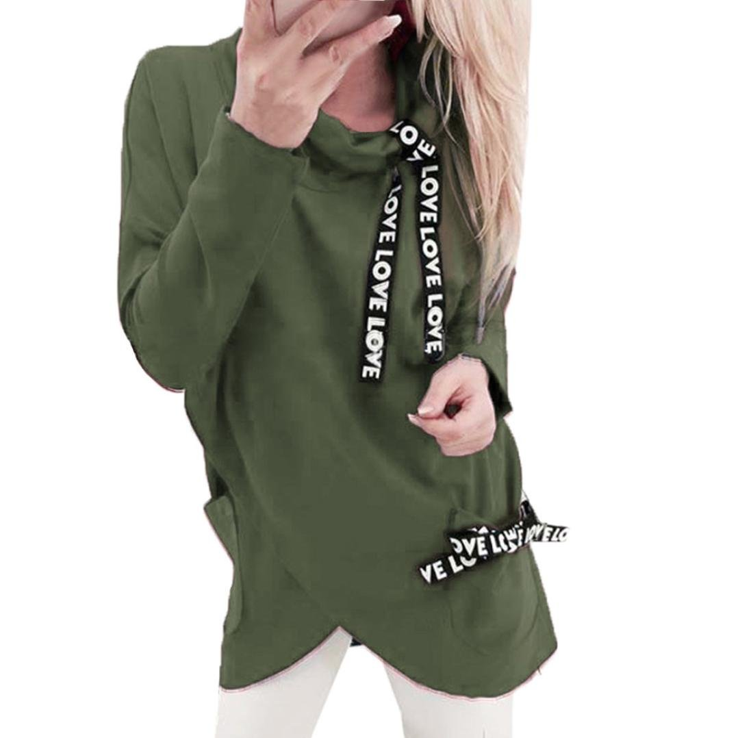 Coohole Women's Fashion Long Sleeve Turtleneck Irregular Hooded Sweatshirt Blouse Pullover (S, Army Green)