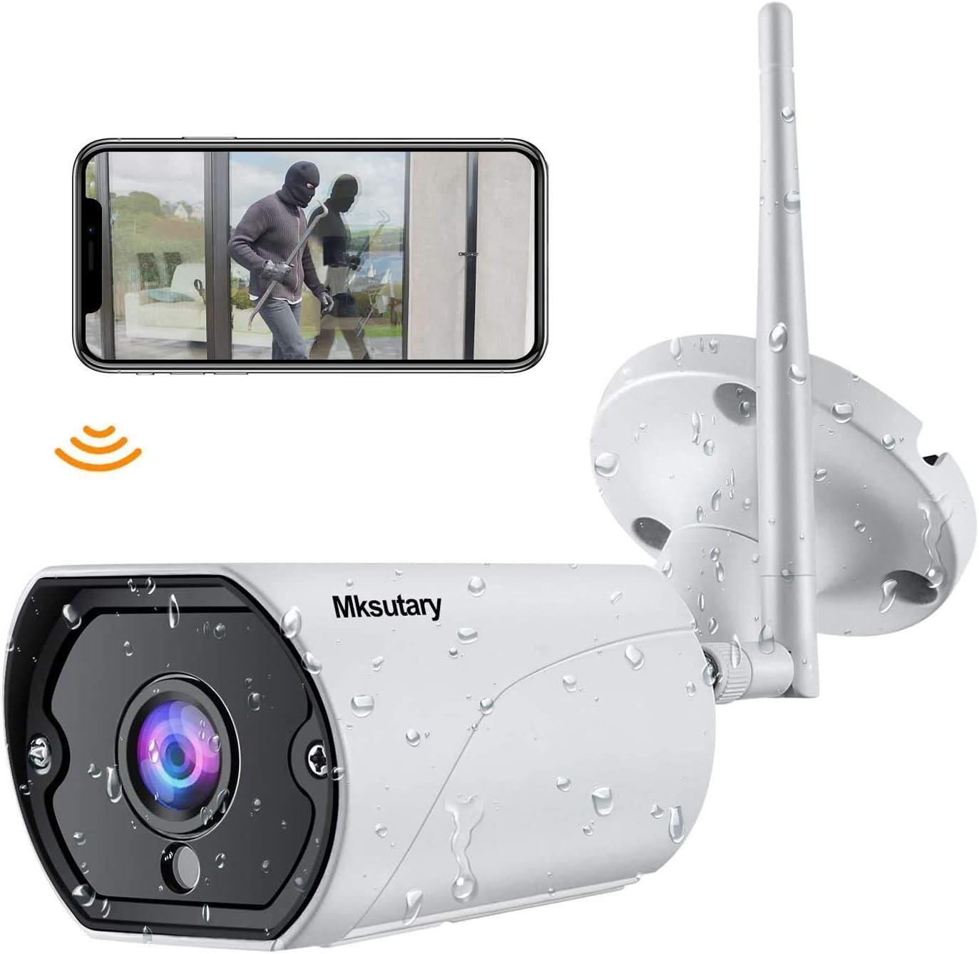 Cámara IP Exterior, Camara IP WiFi 1080p, Cámara Vigilancia Exterior WiFi Visión Nocturna Audio de 2 Vías Detección de Movimiento Monitorización ...