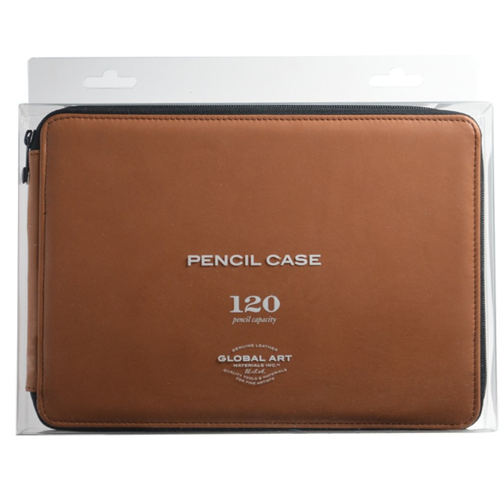 Global Art Materials 412120 120 Piece Leather Pencil Case, Antique Brown by Global Art Materials