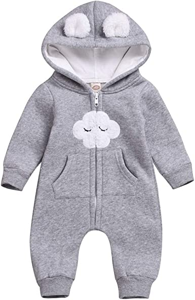 FORESTIME Little Baby Boys Winter Warm Cotton Leatter C Hooded Romper Jumpsuit Outfits Costumes