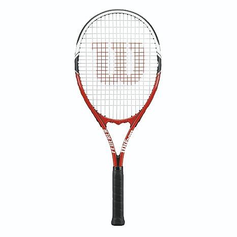 Wilson Federer Adult Strung Tennis Racket, WRT32480U3, Red