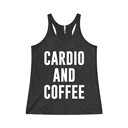 c06fe19669a8e Image Unavailable. Image not available for. Color  Women s Funny Workout  Gym Tank Top T Shirt Apparel Cardio and Coffee