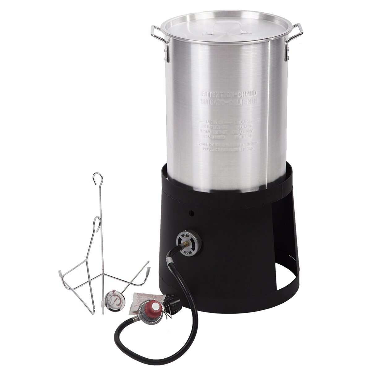 FDW Portable Propane Cooker with 30-Quart Outdoor Turkey Fryer Kit Aluminum Pot by FDW