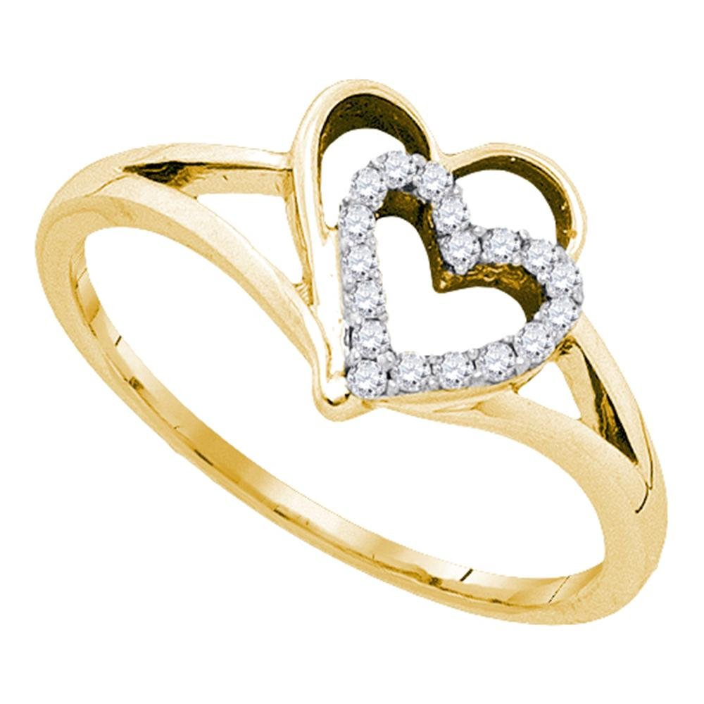 10kt Yellow Gold Womens Round Diamond Double Nested Heart Love Ring 1/8 Cttw