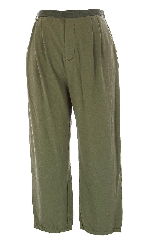 Joan Vass Women's Cropped Pleated Pants Olive