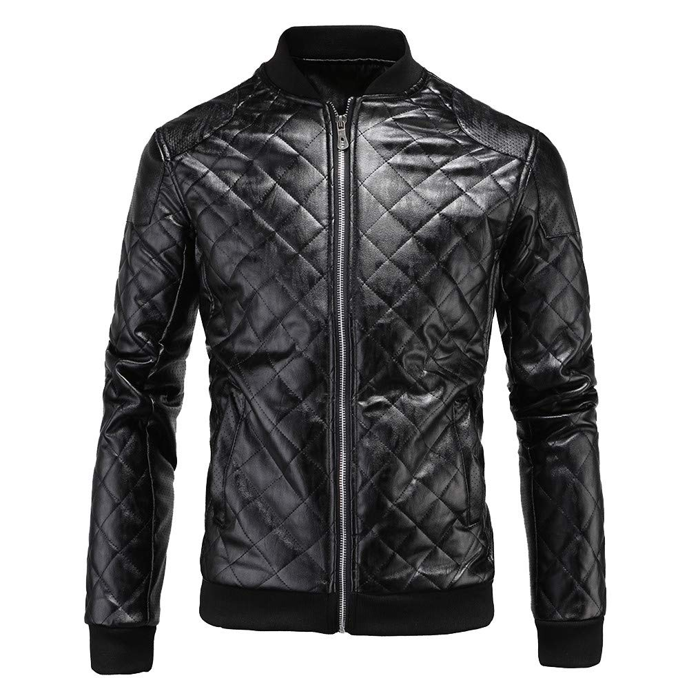 Seaintheson Men's Leather Jackets,Casual Full-Zip Coats Autumn Winter Thermal Warm Fashion Motorcycle Outwear Long Sleeve Tops